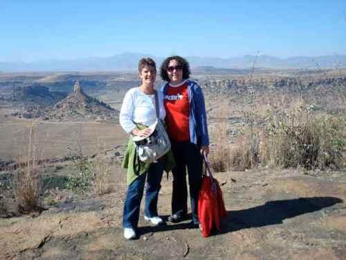 Heather and Anita at Thaba Bosiu