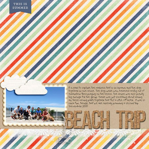Beach Trip by Heather Awsumb | Supplies: Happiness Is (patterned paper) by Zoe Pearn; Carson Park Element Pack, Evergreen, Rise and Shine by One Little Bird; Classic Curled Photo Frames (staple), Dog Park Element Pack, Little Layette Kit (frame), Painted Lace Edgers No 1 by Katie Pertiet
