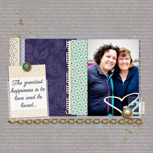 Happiness Is ... by Heather Awsumb | Supplies: Belle Alina Papers, Belle Aline Guilded Elements, Noteworthy Papers and Masks by Scotty Girl Designs; Loosely Labeled, Jingle Element Pack, by Katie Pertiet; At the Moment and Identity by One Little Bird