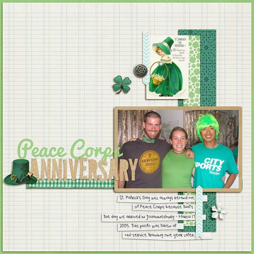 Peace Corps Anniversary by Heather Awsumb | Supplies: Eire Mini Kit (New this week!) by Scotty Girl Designs; Cut It Out Clipping Masks by Robyn Meierotto; Elemental Snippy Alphas by Gennifer Bursett