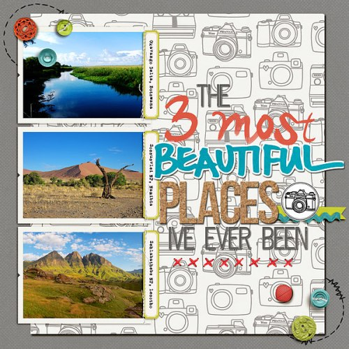 3 Most Beautiful Places by Heather Awsumb | Supplies: Almost There Kit, So Fine Element Pack, Surf Lagoon Element Pack, Dragon Trainer Element Pack, Assorted Messy Stitches White No 3, Classic Cardstock Oyster, Flossy Stitches Red by Katie Pertiet; Thick Awesome Words by Ali Edwards; In Stitches Circles by Britt-ish Designs; The Good Stuff This Month Paper Pack, The Good Stuff This Month Alpha by Mye de Leon; Daily Bulletin, Positive Spin by One Little Bird; Corn Maze by Emily Merritt; Careless & Painted Alpha by Allison Pennington; Life Stories Christmas by Zoe Pearn; Kitschy Christmas by Jennifer Barrette