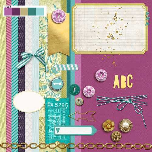 Radiant Orchid Mood Board | Supplies: Cornmaze, Winter Song, Soiree, Rise and Shine by One Little Bird; Julep Kit by Gennifer Bursette; Garden District Paper Pack, Away We Go Add on Paper Pack, Classic Cardstock Little Layette, Classic Cardstock Finest, Classic Cardstock Carnival, Classic Cardstock Spring, Cooked Element Pack, Almost There Element Pack, Away We Go Element Pack, Little Layette Kit, Sweet Rose Element Pack, by Katie Pertiet; Belle Alina Gilded Elements by Scotty Girl Design; Fortitude Basics by Laurie Ann HGD; Arizona Autumn by Digital Design Essentials; Retro Buttons Painted Vol 4 by Rachaels Scraps