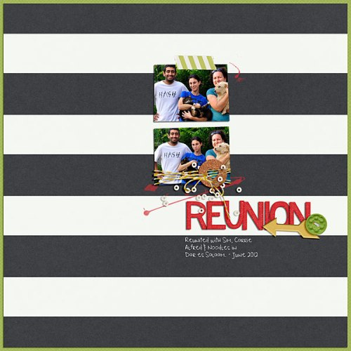 Reunion by Heather Awsumb | Supplies: Busy Week by One Little Bird; Gator Crossing Solids, Almost There Element Pack, Bakers Twine Tangerine, Hadleigh Element Pack, Be Buttoned Energy by Katie Pertiet; Playground Love Alpha by Allison Pennington; May 2014 Challenge Freebie Template by Amy Martin Designs