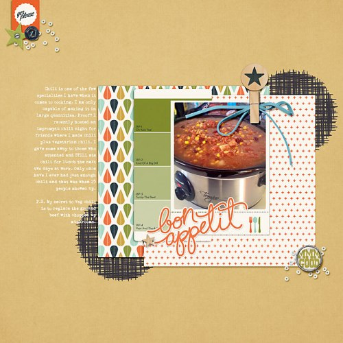 Bon Appetite by Heather Awsumb | Supplies: Prix Fixe, Forever Young, Star Gazer, Day Trippers by One Little Bird; Cooked Element Pack, So Fine Element Pack, Gator Crossing Element Pack by Katie Pertiet; Sprinkles v 24 by Valerie Wibbens